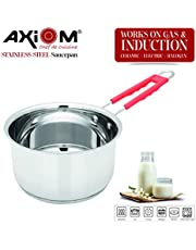 AXIOM Saucepan (Stainless Steel Induction Base with Silicon Stay Cool Handle & Heavy Gauge)