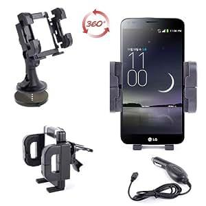 """Support voiture 3 en 1 pour Smartphone LG G4 / G4 C écran 5,5"""" - rotatif sur grille d'aération, pare-brise & tableau de bord - Chargeur allume-cigare BONUS"""