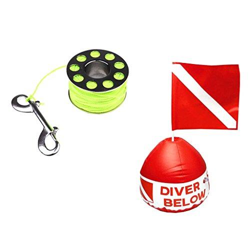 Sharplace Bobine De Corde De Plongée sous-Marine 31m avec Bouée Drapeau Flottant Accessoire Securite Plongeur