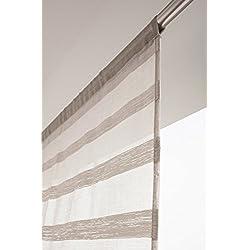 RideauDiscount Voilage Vitrage 90 x 190 cm Passe Tringle Effet Lin à Rayures Horizontales Style Bohème Beige Argile