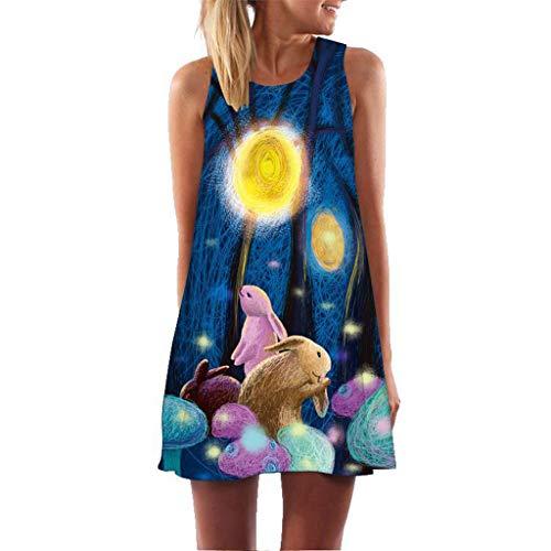 MRULIC Damen Lovely Mini Floral Printing A-Linie Kleider Beach Dress Vintage Boho Frauen Sommer Ärmelloses Party Kleide(A2-Blau,EU-42/CN-L) -