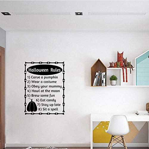 YANGSHUANG Sticker mural 56cm * 73.6cm Halloween règles mots lettres lettres automne Halloween Decor Art PVC sticker mural