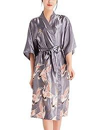 477fb6f4a6 YAOMEI Peignoir de Bain pour Femme Long Kimono, Soft Satin Grue Chemises de Nuit  Robes de Chambre et Kimono de Nuit de Demoiselle…