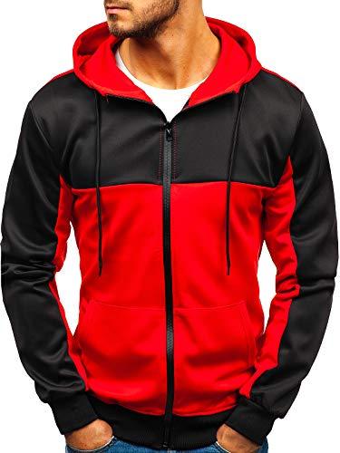 BOLF Herren Kapuzenpullover mit Reißverschluss Basic Street Style J.Style B99001 Rot XXL [1A1]