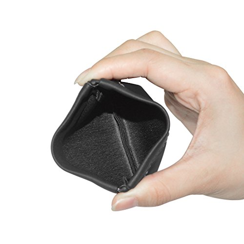 Geekria Soft Elastic PU Earbud Pouch Case / Headphone Carrying Bag / Universal Headphone Protection Pouch / Pocket Earphone Case / Coin Purse change Holder / Portable Travel Bag (Black) - 4
