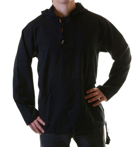 KUNST UND MAGIE Fischerhemd Zipfelkapuze Poncho Überzieher Hemd Mittelalter Kurtha, Größe S, Black/Schwarz