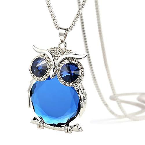 TONVER Kristall-Halskette, versilbert, Vintage-Eulen-Anhänger, Pulloverdekoration, Lange Halskette, Modeschmuck für Frauen und Mädchen, Legierung, Silver Chain - Blue, 6.3 * 4.0cm
