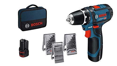 Bosch Professional Akkuschrauber GSR 12V-15 (2x2, 0 Akku, 12 Volt, 39tlg. Zubehör-Set, SchraubenØ max: 7mm, in Tasche)