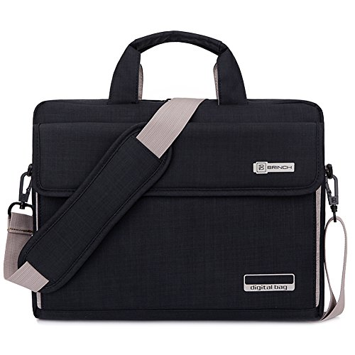 BRINCH Laptoptasche, unisex Messenger Bag Oxford Gewebe Umhängetasche Aktentasche mit Tragriemen für 17 - 17,3 Zoll Laptop / Notebook / MacBook / Ultrabook / Chromebook Computers / Apple / Acer / Asus / Dell / Fujitsu / Lenovo / HP / Samsung / Sony / Toshiba,Schwarz