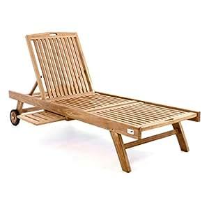 divero gl05650 sonnenliege gartenliege relaxliege liege holzliege teak holz mit. Black Bedroom Furniture Sets. Home Design Ideas