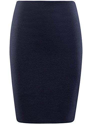 oodji Collection Damen Gerader Rock Basic Blau (7900N)