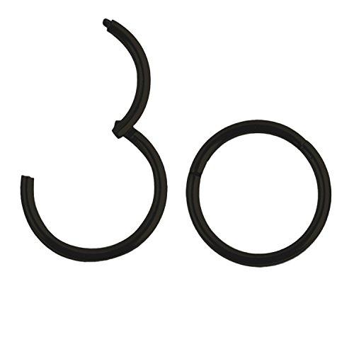 Sasairy Unisexe Boucles du Nez en Acier Inoxydable Boucles d'Oreilles Anneaux Créoles Piercing Convient ausi pour Femme et Homme Noir(1 Paire)