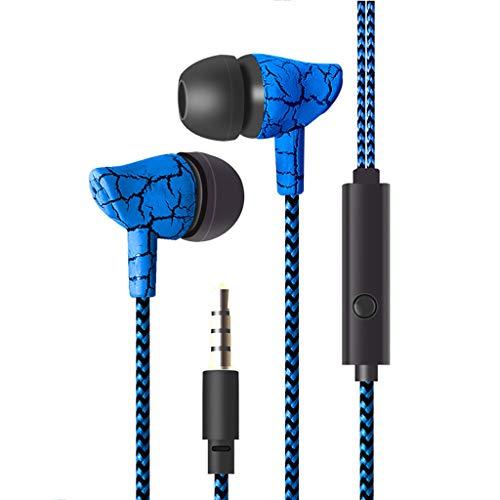 Omiky® Kopfhörer-Kabel,In-Ear-Ohrhörer,Kabelgebundener Kopfhörer 3,5 mm Riss Kopfhörer mit Mikrofon Freisprecheinrichtung für Mobiltelefon MP3 MP4 (Blau) -