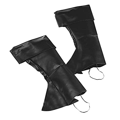 Adult Mens Black Faux Leather Boot Top Covers Tudor Medieval Peter Pan Boy Pirate Reenactment Civil War Fancy Dress Costume Accessory