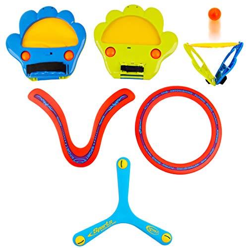 deAO Squap Fangspiel Set Mit 2 Paddelhandschuhen, 4 Plastikbällen und 3 Bumerangs - Sportspielzeug für Anfänger und Junge Werfer