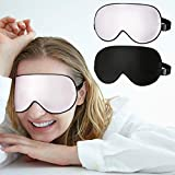Schlafmaske, [2 Stück] Vegena 100% Seide Augenmaske Schlafbrille Hautfreundlich Weiche Nachtmaske Absolute Dunkelheit Für Die Reise, Büro und Zuhause, Schwarz+Rosa