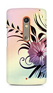 Amez designer printed 3d premium high quality back case cover for Motorola Moto X Play (Flowers drawings patterns wavy light)
