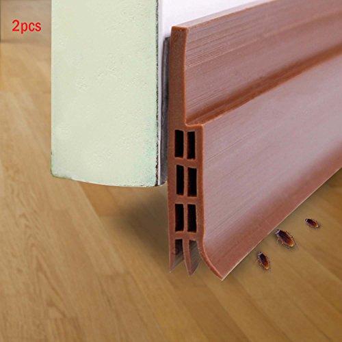 Tür-boden-dichtung (Abseed 2 Stücke Türdichtung Tür-Boden-Dichtungs-Streifen Schalldichtung Fensterdichtung Warme und Kälte Blocker wasserdichtes Tür-Siegel-Abisolieren 100 x 5cm (Braun))