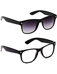 Hipe Unisex Transparent Wayfarer And Black Sunglasses With 2 Boxes, 55(Multicolour, R8-PLAA-CH8C) - Combo Pack