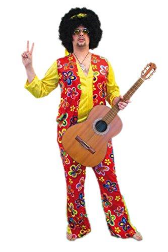 TH-MP 70er Jahre Schlager Hippie Outfit 3-teilig Kostüm Herren Flower Power Verkleidung 48/50 Schlaghose + Oberteil + Stirnband Mottoparty Kleidung