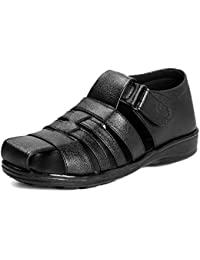 Bonexy Men's Branded Black Leather Sandals (1477-1482) (6, Black)