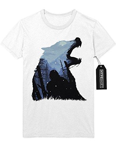 T-Shirt Game of Thrones Winter is coming Wolf Schnee Nacht C980055 Weiß L (Game Of Thrones Drachen Lady Kostüm)