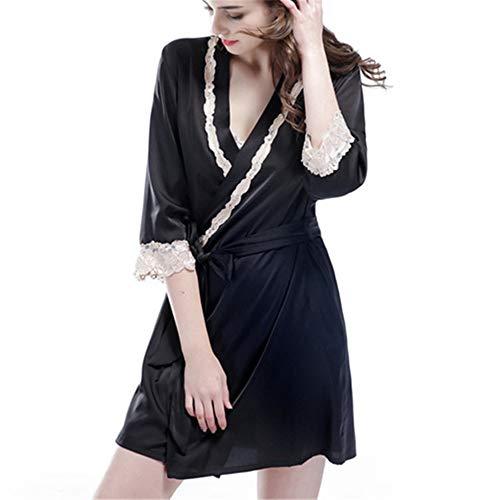 Bata Kimono para Mujer,Corto Encaje Ropa de Dormir de Albornoz de satén...