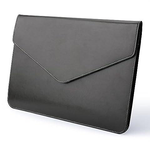 Devinal ultra-mince Mode ordinateur portable Manchette Cuir PU Housse de protection ordinateur portable Sac Portable pour nouveau MacBook Pro 33cm Retina 2017et 2016/2017/Surface Pro 3432,8cm iPad Pro 33,8cm (Noir)