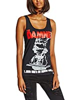Plastic Head Women's Damned, The I Just Can't Be Happy Today Banded Collar Sleeveless Vest Top, Black, Size 14 (Manufacturer Size:X-Large)