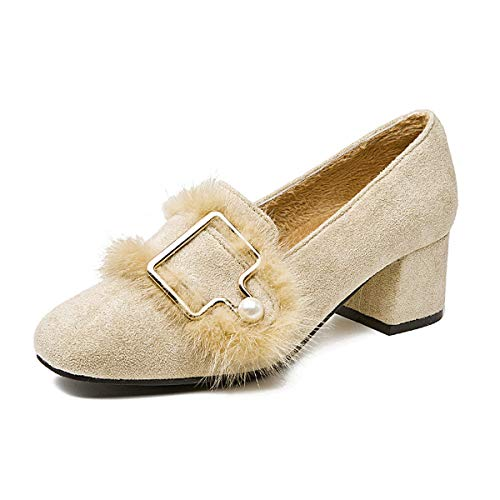 HBDLH Chaussures pour Femmes/Unique Boucle Carrée Chaussure Pearl Doux L'Automne Et l'hiver 100 Séries D'Épaisseur Au Milieu du Pied Seule Chaussure