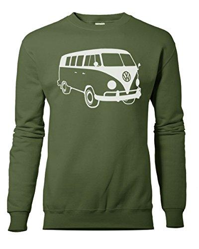 Fashion Review Veste rétro camping-car Volkswagen VW Camper Van Sweat Pull de XS à XXL Vert - Vert militaire