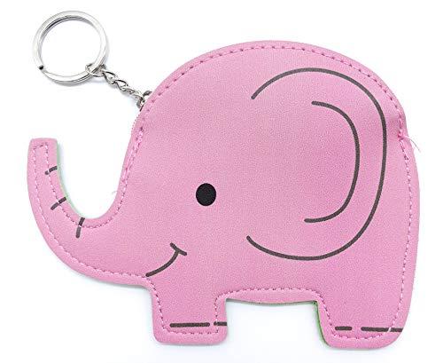 Monedero de Piel con diseño de Elefante, con Cierre de Llavero, Color Rosa