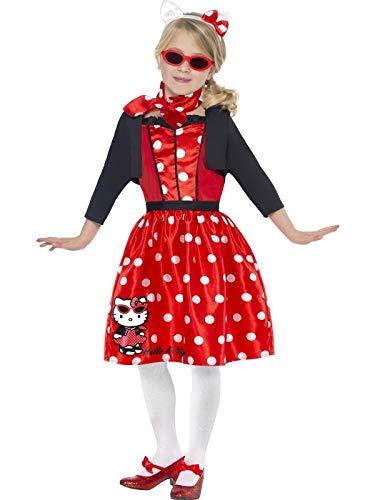 Original Lizenz Hello Kitty Kostüm Kittykostüm für Mädchen Katze Retro Retrokostüm 50er Jahre rot Gr. 128-134 (M), 140-158 (L), Größe:M