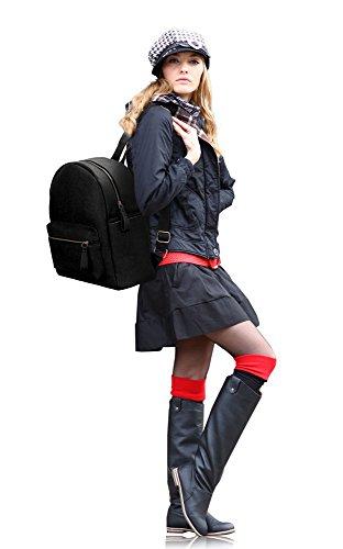 LeahWard® Damen Mädchen Rucksack Rucksack Schule Taschen Damen Qualtiy Mode Kunstleder Handtasche CWS00186 CWS00186A CWJM841 186A Schwarz