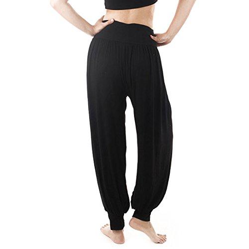 Andux Zone Super morbido Modal Pantaloni Lunghi da Yoga,Aladin pant SS-W08-K (Nero-XXXL)