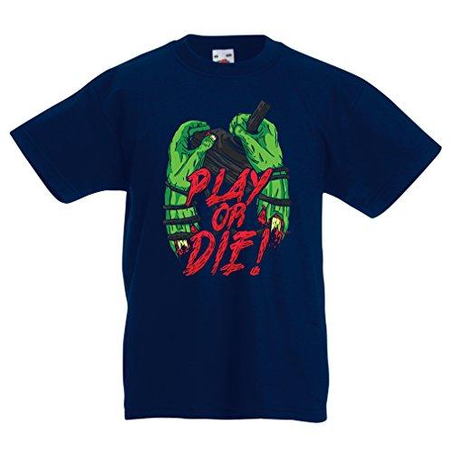 lepni.me Kinder T-Shirt Spielen oder sterben - nur für Spieler! (9-11 years Dunkelblau Mehrfarben)