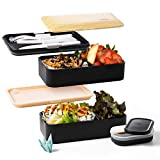 Atthys Lunch Box Bambou Noir | Bento Japonais Design avec 3 Couverts | Bento Box 2 Compartiments Hermétiques 1200 ML | Micro-Ondes & Lave-Vaisselle | Boîte Déjeuner Bois Adultes ou Enfants Premium