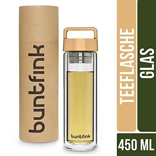 Buntfink 2goBottle Teeflasche aus Glas mit Sieb,Teebereiter to go, Trinkflasche mit Teesieb für Tee oder Wasser, Thermoflasche/Teekanne (doppelwandig) - Gold (kupfern) -