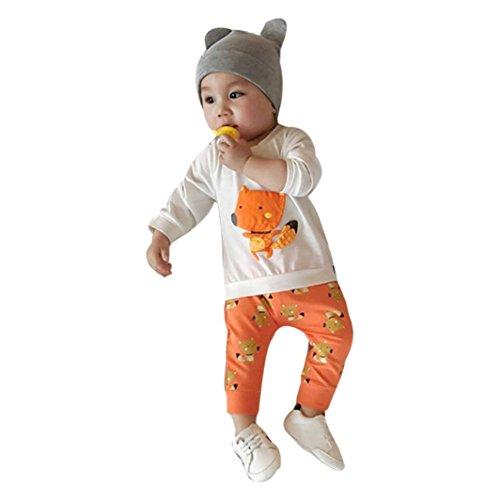 Ensemble Bébés garçons, Xinan Bébé Fille Coton Longue Manches Imprimé Tops +Pantalons Outfits Dessin Animé Vêtements (Orange, 2T)