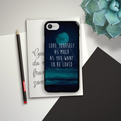 Apple iPhone X Silikon Hülle Case Schutzhülle Mond Ozean Statement Hard Case schwarz