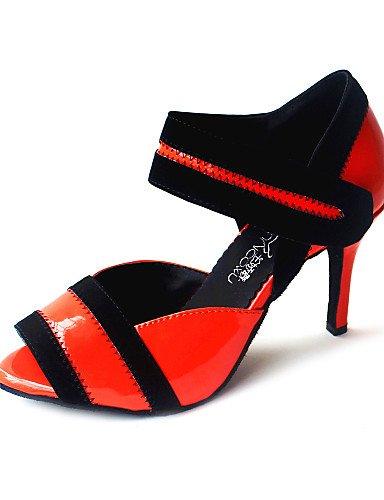 La mode moderne Sandales femmes personnalisables Chaussures de danse en similicuir talon/Bal personnalisé Jaune/Rouge/Fuchsia US9/EU40/UK7/CN41