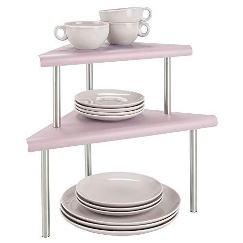 mDesign Estantería esquinera con 2 niveles - Baldas de cocina para rincones de encimeras e interiores de armarios - Estantes de metal y acero con dos alturas para la cocina - rosa y plateado mate