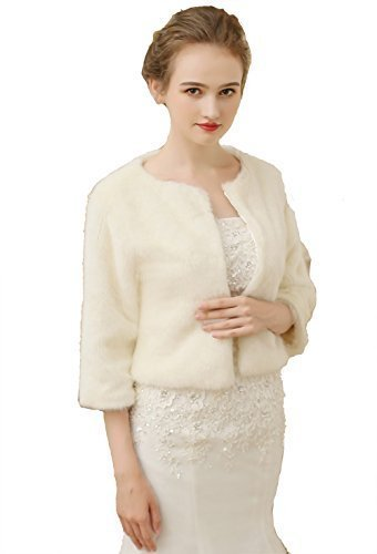 Luyan Damen Braut Schal Kunstpelz Luxus Winter Hochzeit Party Jacken gewickelt Mantel 038 - Creme, One size
