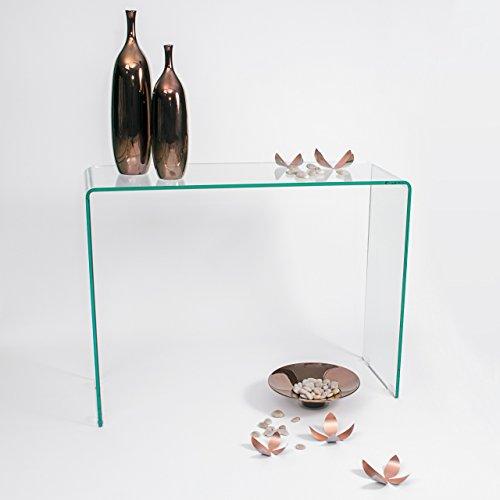 Homely - Mesa Consola Murano de Cristal Curvado y Templado de 100x35 Altura 75 cm.