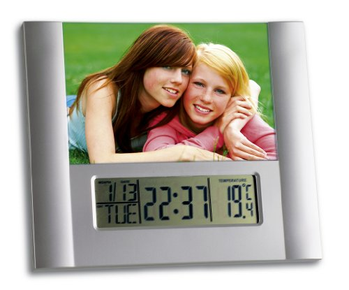 fotorahmen uhr TFA Dostmann Digitaler Wecker, mit Fotorahmen, Innentemperatur, Kalender und Geburtstagserinnerung, Snooze-Funktion, 9 verschiedene Alarmtöne