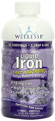 Wellesse Liquid Mineral Supplement, Iron, 16 Ounce from WELLESSE