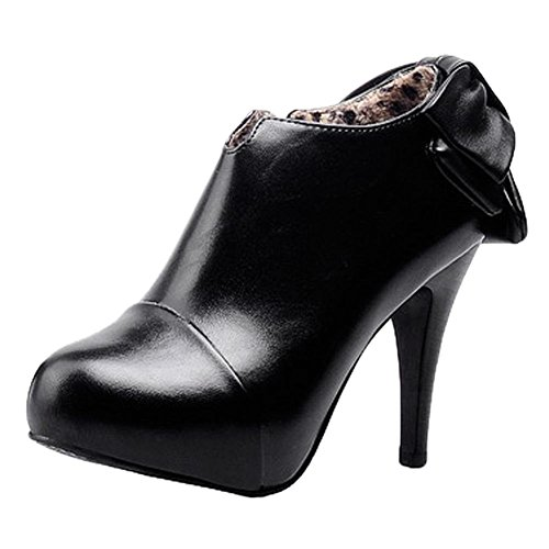 MissSaSa Donna Scarpe col Tacco Cono Alto Elegante e Classico Nero