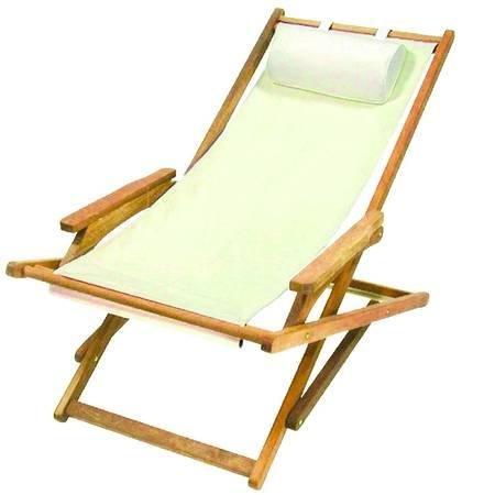 Sedie A Sdraio In Legno.Vette Sedia A Sdraio In Legno Chiaro Acacia Con Braccioli E Tela