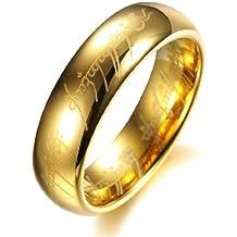 COPAUL 18 K chapado en oro el Señor de los anillos Pure carburo de tungsteno con Biblia Engaved anillo de pareja
