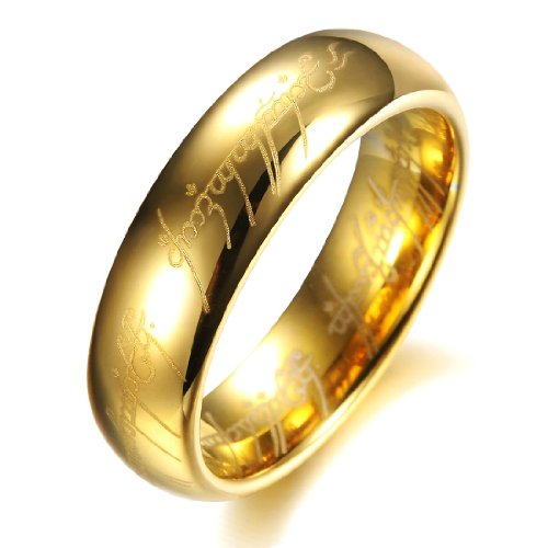 COPAUL Pure Tungsten Carbide 18K Gold Plated Lord of The Rings with Bible Engaved Couple Ring Wedding Band, Men, Size X